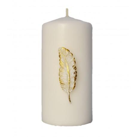 Świeczka z piórkiem biała/ecru WIELKANOC